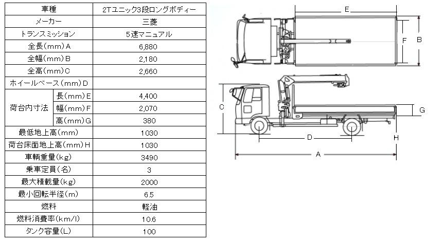 三菱 2Tユニック3段ブームロングボディー図面