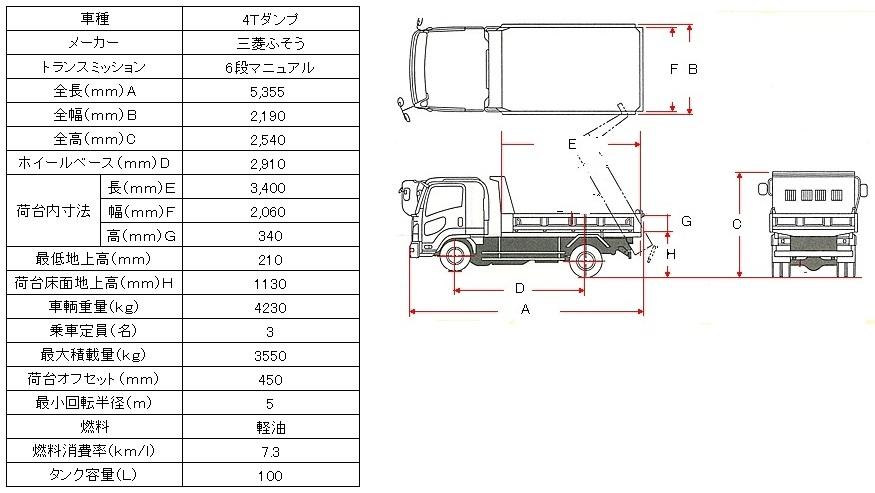 三菱4.0tダンプ図面